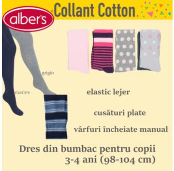 Dres din bumbac pentru copii 3-4 ani. Contine elastan si imbraca perfect piciorul! alber's Cotton