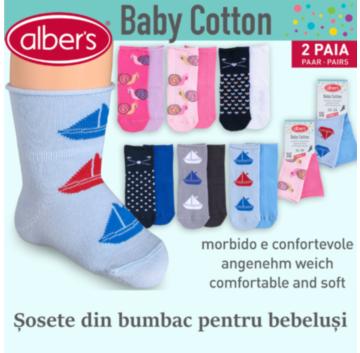 Sosete bumbac pentru bebelusi, set 2 perechi - alber's Baby cotton (Art. 444)