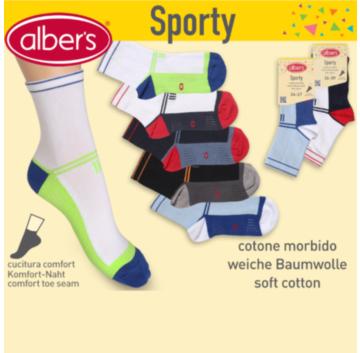 Ciorapi sport din bumbac pentru copii. Modelele vesele sunt usor de asortat. alber's Sporty