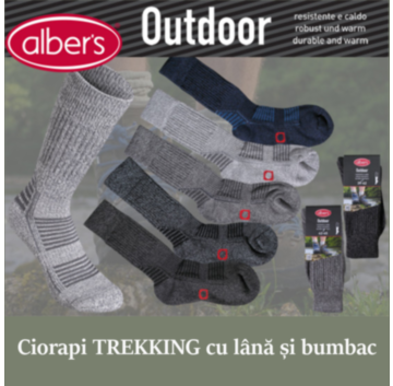 Ciorapi drumetie cu lana si bumbac cu intarituri la varf, calcai si pe picior. alber's Outdoor