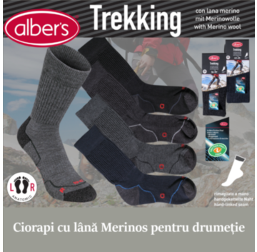 Ciorapi pentru drumetie (trekking). Au forma anatomica, nu strang si protejeaza impotriva bataturilor. Contin lana merinos pentru reglarea temperaturii. alber's Trekking