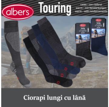 Ciorapi lungi cu lana si bumbac, pentru drumetie. Au protectie in zona tibiei, a pulpei si a tendonului lui Ahile si banda elastica de sustinere in zona gleznei si a oaselor metatarsiene. alber's Touring