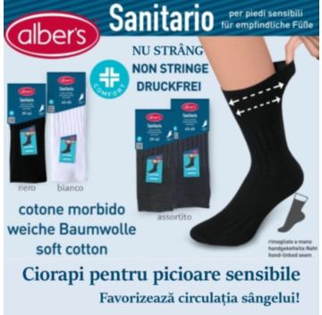 Ciorapi bumbac fara elastic pentru picioare sensibile. Nu strang si nu aluneca pe picior. Ciorapi recomandati pentru diabetici. alber's Sanitario