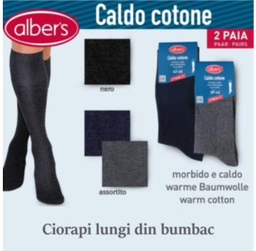 Ciorapi lungi uni din bumbac pentru barbati. Eleganti si confortabili, din bumbac elasticizat moale si calduros, sunt ciorapii perfecti ai barbatilor exigenti si atenti la detalii! Setul contine 2 perechi. alber's Caldo cotone