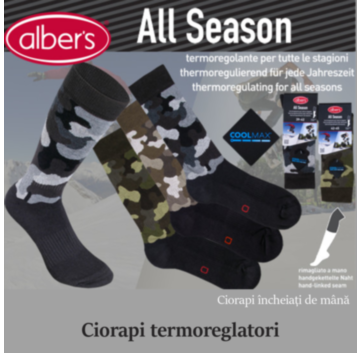 Ciorapi ALL SEASON din bumbac cu fibre Coolmax®. Potriviti pentru activitati sportive si recreative, sunt ciorapi moderni, confortabili, ideali si pentru tinute casual in anotimpul rece! alber's All Season